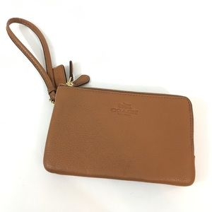 Coach camel color small wallet wristlet leather